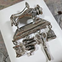 Antique Sewing Machine Brooch Taxco Mexico TM90 Mex 925 Fun Dangles Snake Scissors Thimble Spool of Thread Gift for Seamstress Quiltmaker