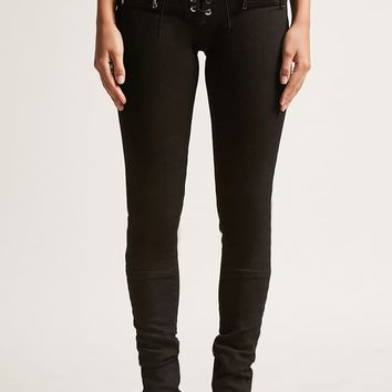 Kikiriki Frayed Lace-Up Jeans