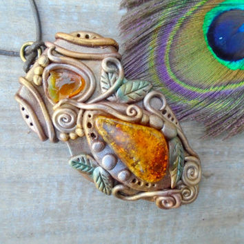 Amber Opal Necklace Gemstone Clay Pendant Crystal Hippie Faerie Boho