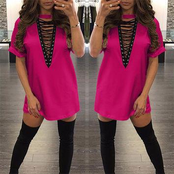 """pink """" New York Minute"""" lace up tshirt dress"""