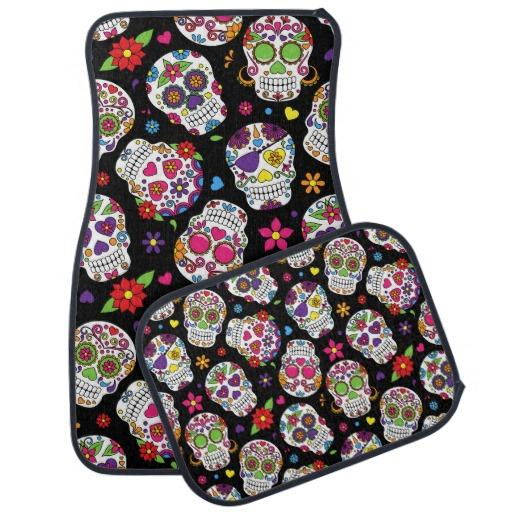 Colorful Sugar Skulls On Black Car Mat From Zazzle