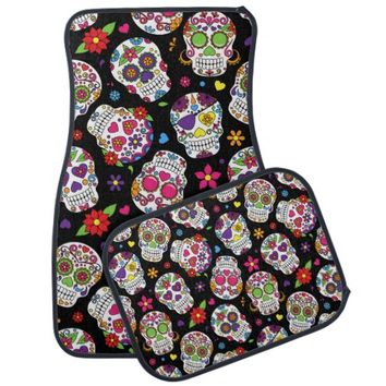 Colorful Sugar Skulls On Black Car Mat
