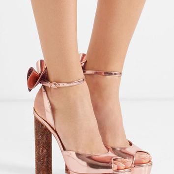 Sophia Webster - Raye bow-embellished metallic leather platform sandals
