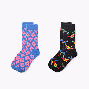 Origami Crew Sock Set (Set of 2)