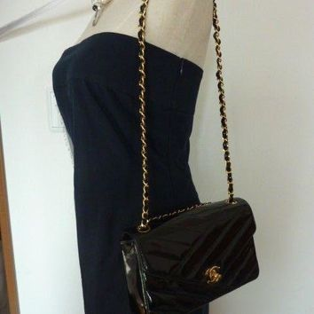 """AUTH Chanel Quilted Mademoiselle """"2.55"""" Black Double Chain Flap Bag"""