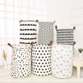 Cotton Linen Large Foldable Laundry Storage Basket for Kids Toys Sundries Organizer Barrel with Leather Handle 40x50cm