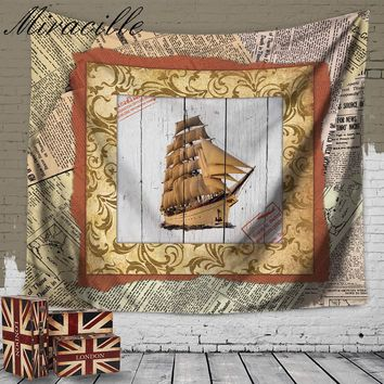 Miracille Retro Style Airplane Ship Pattern Hippie Wall Tapestry Home Decorative Hanging Wall Blankets Beach Throw Towels