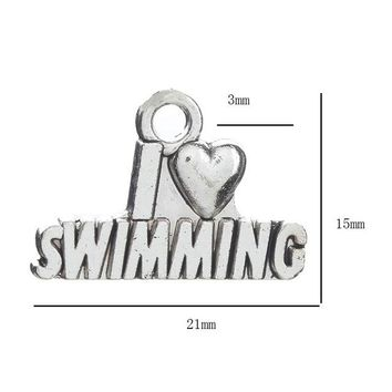 Swimming Pool beach 10pcs/lot Letters Charms I love Swimming Pendant Antique Making Pendant Fit DIY Keychain Bracelet Necklace Accessories 21*15mmSwimming Pool beach KO_14_1