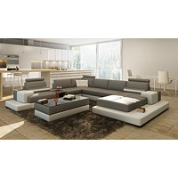 Luxury Contemprory U shape sofa modular sectional leather lounge 5 7 seat 6 chaise