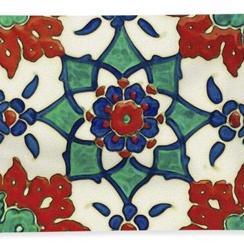 An Ottoman Iznik Style Floral Design Pottery Polychrome, By Adam Asar, No 13a - Bath Towel