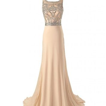 Changjie Women's Sleeveless Long Beaded Chiffon Formal Evening Prom Dresses CJ70