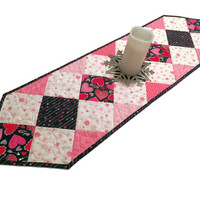 Valentines Day Table Runner Quilt,  Pink and Black Charms Quilted Table Runner, Valentine Quilt, Quiltsy Handmade