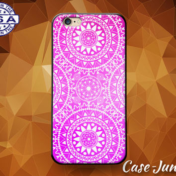 Pink Mandala Floral Flower Pattern Cute Tumblr Inspired Custom Case For iPhone 4 and 4s and iPhone 5 and 5s and 5c and iPhone 6 and 6 Plus +