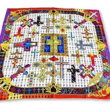 Gianni Versace Atelier Vintage Scarf Silk Rich Cross Motif New