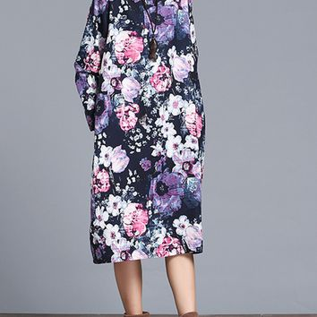 Streetstyle  Casual Slit Pocket Round Neck Casual Fancy Floral Printed Maxi Dress