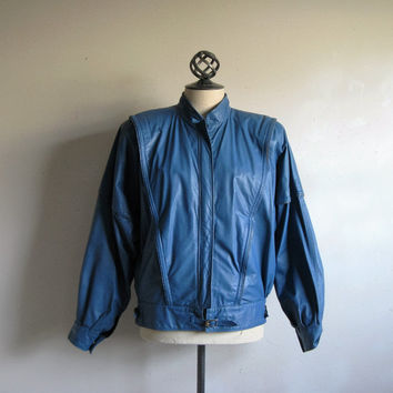 80s Blue Leather Jacket Vintage 1980s Liberty Belle Genuine Leather Bomber Moto Jacket Small