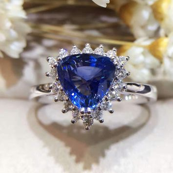 18K Gold 1.843ct Natural Sapphire Women Ring with 0.227ct Diamond Setting 2017 New Fine Jewelry Wedding Band Engagement