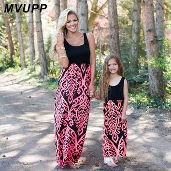2 Color Mommy Neon Coral Black Damask Maxi Dress
