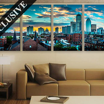 Large Wall Decor Canvas Set of 1 or 4 Panel Art // Extra Large Wall Art Multi Panel Canvas Print // Boston Skyline Massachusetts Wall Art