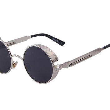 Vintage Women Steampunk Round Sunglasses