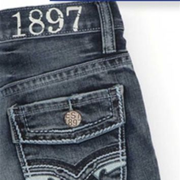 1897 Boys Bootcut Jeans with Faux Flap Pocket GLT880AB