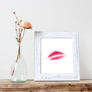 lips signed,watercolor art,inspirational artwork,home decor,wall decor,apartment decor,instant download,dorm room decoration,kiss print