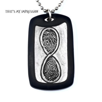 Custom Infinity Jewelry, Long Distance Couples Jewelry, Men's Dog Tag, Infinity Fingerprints and Handwriting, Memorial Jewelry, Military