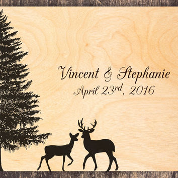Nature Wedding Guest Book, Deer Guest Book, Fir Tree Guest Book, Deer Wedding, Forest Wedding, Nature Guest Book Tree, Tree Wedding Book