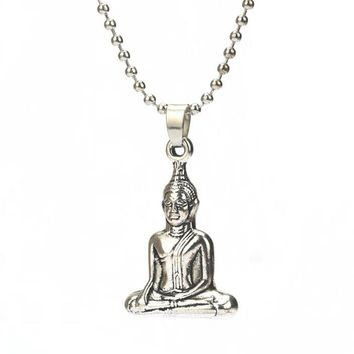 Spiritual Buddha Charm Pendant Necklace #Women Jewelry#   Vintage Silver Necklace # Men Jewelry #