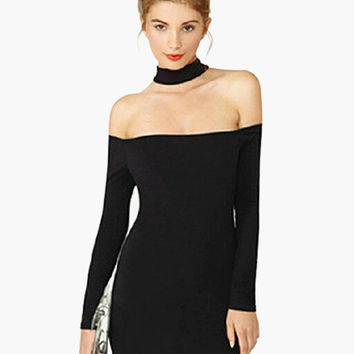 Off Shoulder with Neck Choker Long Sleeve Bodycon Dress