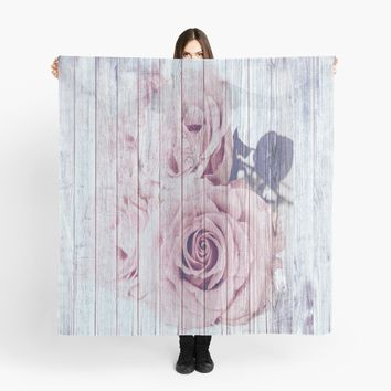 'Vintage Shabby Chic Dusky Pink Rose Roses' Scarf by ThatsMyStyle