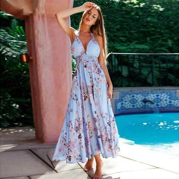 Sexy Halter Print Maxi Dress 2017 Off Shoulder Deep V Floral Beach Blue Summer Women Dresses Backless Party Long Dress Vestidos