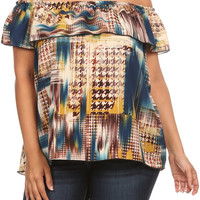 Plus Size Jenna Off Shoulder Abstract Print Top