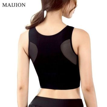 PEAPFS2 MAIJION Women Breathable Mesh Sports Bras Shockproof Padded Athletic Gym Running Bra Solid Seamless Fitness Yoga Sport Tops Vest