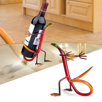 Gecko Wine Rack Wine Shelf Metal Sculpture Creative Metal Iron Wine Home Bar Beer Wine Rack Bar Bottle Holder Suspension (Size: