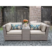 Outdoor Wicker 3 Piece Lounge Seating Group with Cushion
