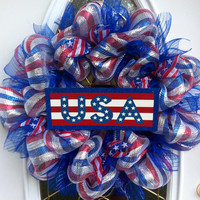 Patriotic wreath in deco mesh style