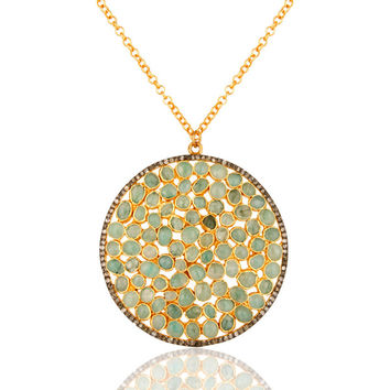 Handmade Sterling Silver Emerald Raw Stone Pendant Necklace With Pave Diamond
