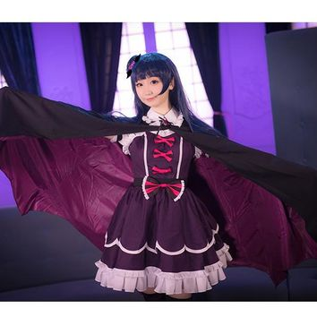 Anime LoveLive! Sunshine!! Love Live Sunshine Aqours Tsushima Yoshiko Cosplay Costume Fallen Angel Dress Cloak Headwear Socks