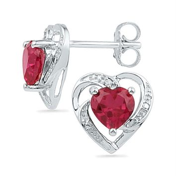 Sterling Silver Womens Round Lab-Created Ruby Diamond Heart Stud Earrings 2-1-5 Cttw