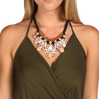 Black Stone Drop Statement Necklace