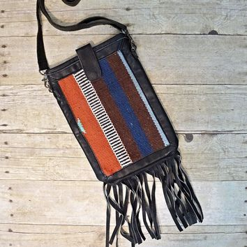 Modern Leather Fringe + Turkish Kilim Crossbody Bag