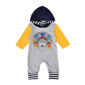 Newborn Baby Rompers Autumn Boys Girls Indian Wolf Hooded Romper Jumpsuit Outfits Baby Clothes drop ship