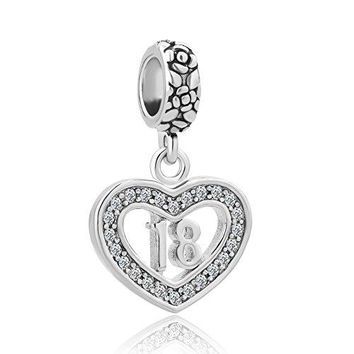Charmed Craft Heart 18 Comingofage Sweet 16 Birthday Gifts Charms Crystal Dangle Beads For Bracelets
