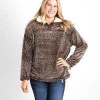 Frosty Tipped Sherpa Pullover in Brown by Peach Love KJ25015-01 BRN