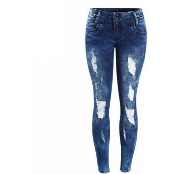 Embroidery Washed Stretchy Ripped Pencil Jeans