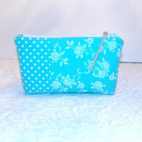 Teal and White Zipper Pouch