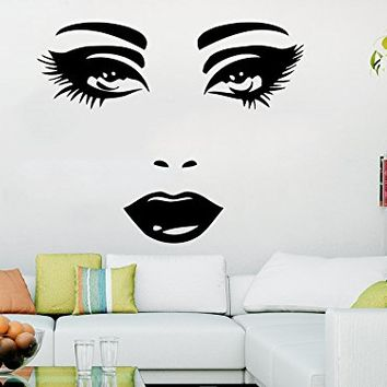 Makeup Wall Decal Vinyl Sticker Decals Home Decor Mural Make Up Girl Eyes Woman Fashion Cosmetic Hairdressing Hair Beauty Salon Decor C144