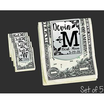 Set of 5 Personalized Money Clips | Groomsmen Gifts
