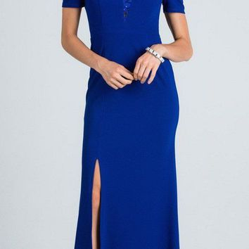 Royal Blue Cold Shoulder Long Prom Dress with Lace Inset and Slit